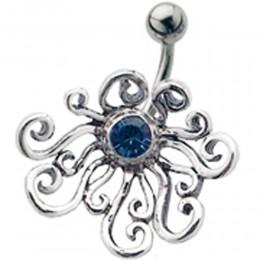 Stahl Bauchnabel Piercing mit Silber Design und Swarovski