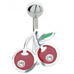 Bauchnabel Piercing mit Kirschen Design