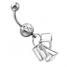 Piercing gebogen Bauchnabel mit Crystal Stein im Design