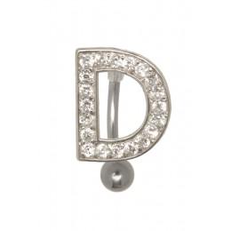 Bauchnabel Körperschmuck Piercing im ABC-Design mit Zirkonien - Buchstabe D