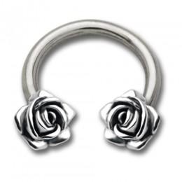 Side Circular Barbell mit Rosen Design