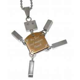 Anhänger Roboter gross gold mit Wunschgravur