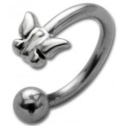 Hufeisen Piercing mit Front-Motiv Chirurgenstahl - Schmetterling Sterling Silber