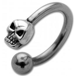 Hufeisen Piercing mit Front-Motiv Chirurgenstahl - Totenkopf Sterling Silber