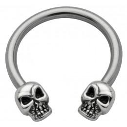 Side Hufeisen Piercing mit Totenkopf Design
