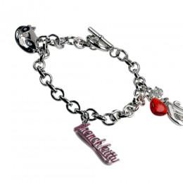 charm bracelet, platinum plated metal alloy / enam