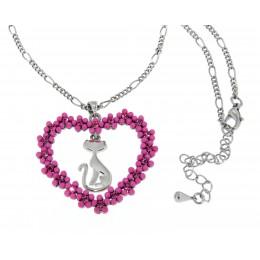 French Kitty Halskette mit rosa Perlen-Herz
