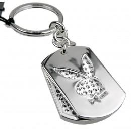 Schlüsselanhänger Playboy Bunny weiß - Swarovski Kristall