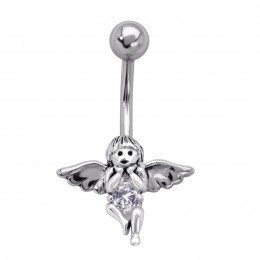 Bauchnabel Piercing Engel aus Stahl und Silber