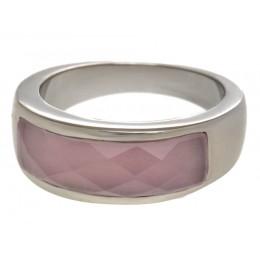Stahlring mit synthetischem Stein in rosa