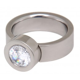Edelstahlring poliert mit einem großen Kristallstein in 6mm Breite
