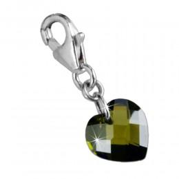 Anhänger Zirkonie Herz, 10mm, grün