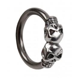 Front Closure Ring mit 925 Sterling Silber Verschluß und zwei Totenköpfen