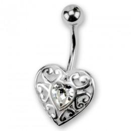 Bauchnabel Piercing mit Herzdesign und Kristallstein