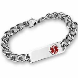 Medi-Armband aus Edelstahl mit Gravurplatte 20cm