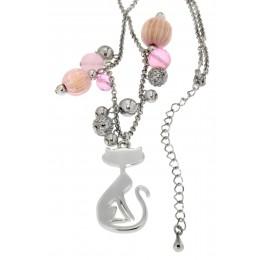 Halskette mit Katzendesign und Kunstperlen