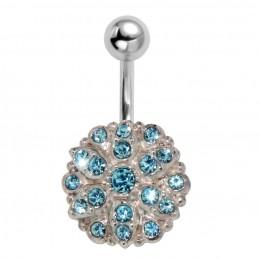 Bauchnabel Piercing mit ChirurgenstahlStab und vielen Kristallsteinen