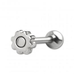 Zungenpiercing mit Zahnrad-Design aus Stahl 1.6x16mm