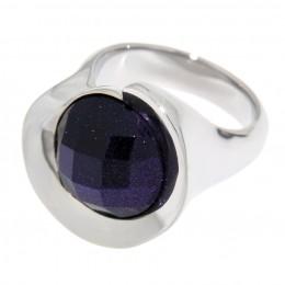SONDERANGEBOT Ring aus Edelstahl mit violettem facettierten Stein