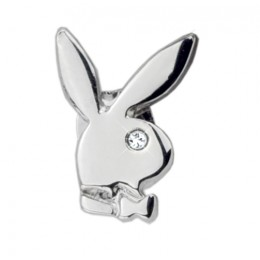 Playboy-Ohrstecker BUNNY, SINGLE, rhodiniertes Messing mit klarem Kristall