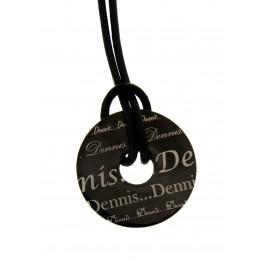 WUNSCHGRAVUR: Halskette mit Scheibe aus Edelstahl, schwarz