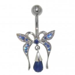 Bauchnabel Piercing mit Anhänger Sterling Silber - Schmetterling