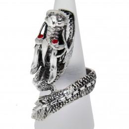 Schwerer Ring DRACHE aus 925 Sterling Silber, oxidiert