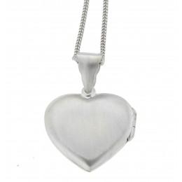 Herzförmiger matter Medaillon Anhänger aus 925 Sterling Silber