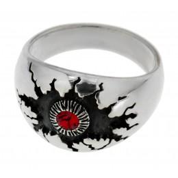 Schwerer Ring aus 925 Sterling Silber mit einem Kristallstein, Motiv Monsterauge