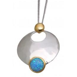 Feines Collier aus 925 Sterling Silber teilweise vergoldet mit synthetischem Opal