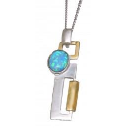 Feines Collier aus 925 Sterling Silber teilweise vergoldet mit synthetischem Opale