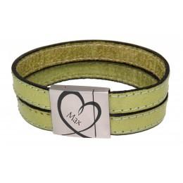 Echtlederarmband lindgrün mit Gravur