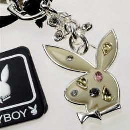 Schlüsselanhänger Playboy mit Bunny-Kopf und  bunten Swarovski Kristallen