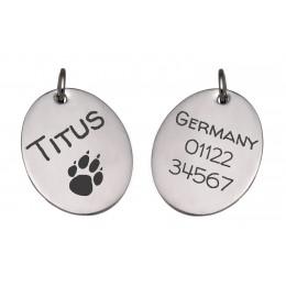 Hundeanhänger aus Edelstahl mit beidseitiger Gravur