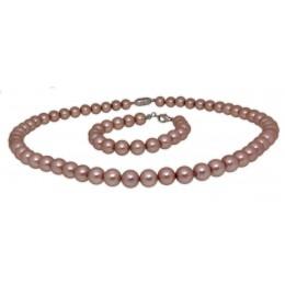 Collier mit Armband bestehend aus Lackperlen in altrose