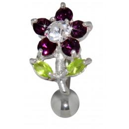 Bauchnabel Piercing Blume Silber Chirurgenstahl Kristalle