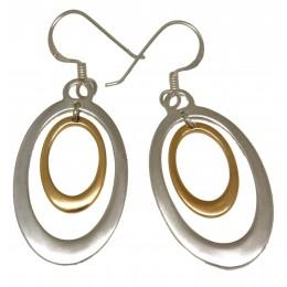 Ohrhänger Sterling Silber Oval in Oval vergoldet