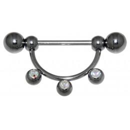 Körperschmuck Piercing Brust Stab 15mm 3 Kristalle Brustpiercing Nippelpiercing