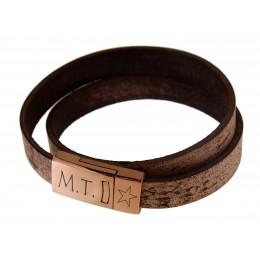 Echtlederarmband antikbraun Verschluss Edelstahl rose gold, mit individueller Gravur