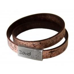 Echtlederarmband antikbraun, Verschluss Edelstahl mattiert, mit individueller Gravur