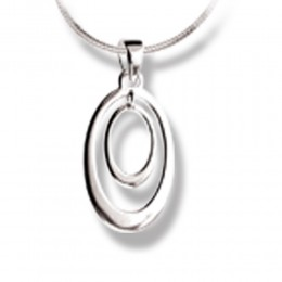 Anhänger Sterling Silber Oval in Oval Silber glänzend