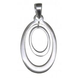 Anhänger Sterling Silber Oval in Oval mattiert