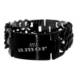 Edelstahl Armband schwarz glänzend mit ihrer individuellen Gravur