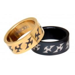 Set Edelstahlringe schwarz und gold mit Tribal-Motiv