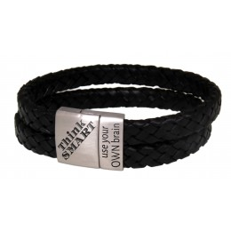Breites Lederarmband schwarz mit Gravur