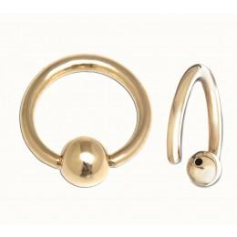 14 Karat Gold BCR mit fester Kugel in drei Stärken und mehreren Durchmessern
