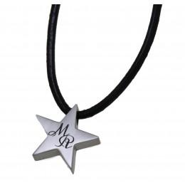 Edelstahlanhänger Sternchen mit Gravur und Lederkette