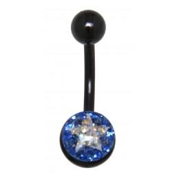 Crystallines Bauchnabel Körperschmuck Piercing mit schwarzer PVD-Beschichtung