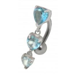 Bauchnabel Piercing 1.6x10mm mit Behang und Herz Kristallen