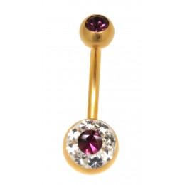 Vergoldeter Stab Bauchnabel mit Kristallen